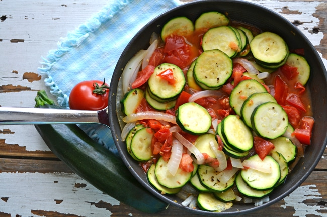 Tomato Zucchini Skillet {A Pretty Life}