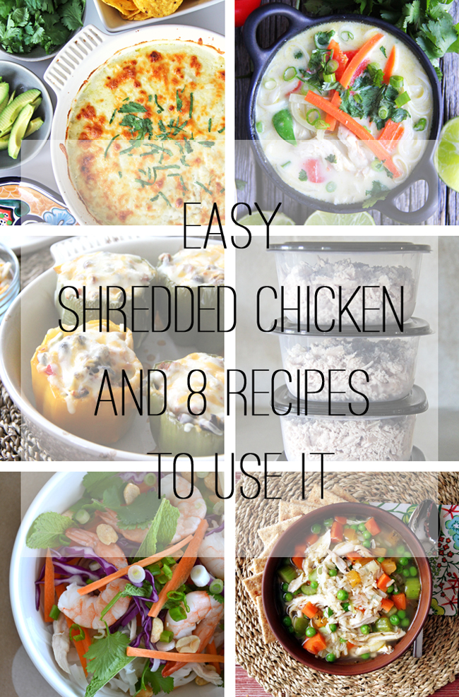 Easy Cooked Shredded Chicken and 8 Recipes To Use It - A Pretty Life ...