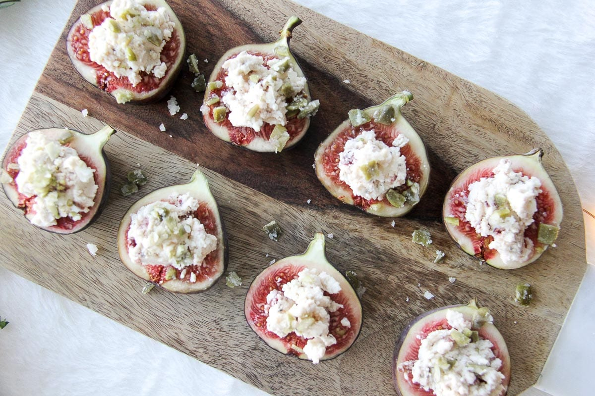 Cranberry Pepper Boursin Figs with Pepita Brittle {A Pretty Life}