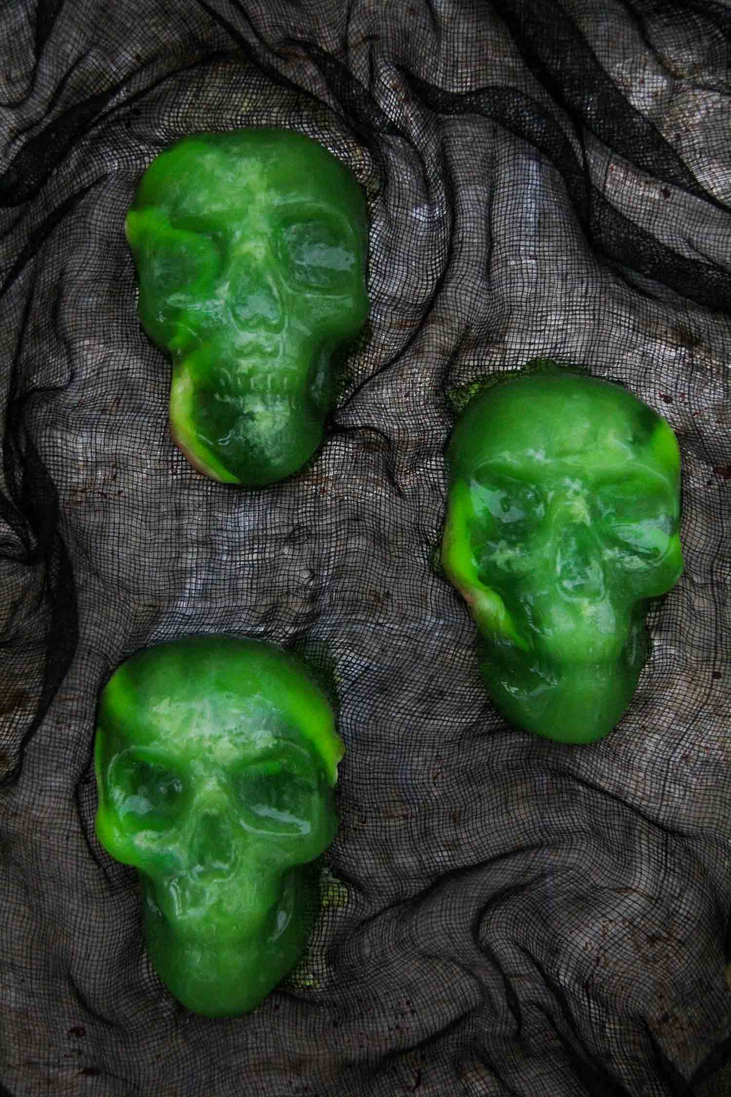 Halloween Jello Skulls with Gummy Candy Worms