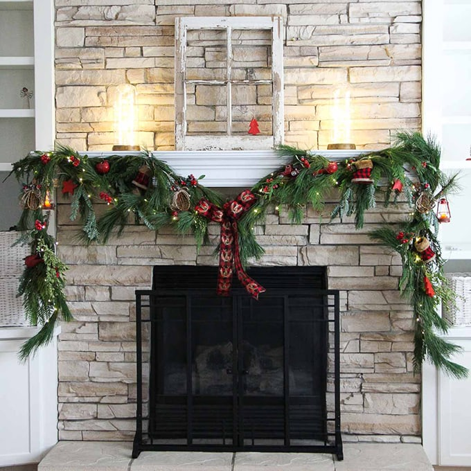 make a festive christmas mantel swag a pretty life in the suburbs - How To Make A Christmas Swag