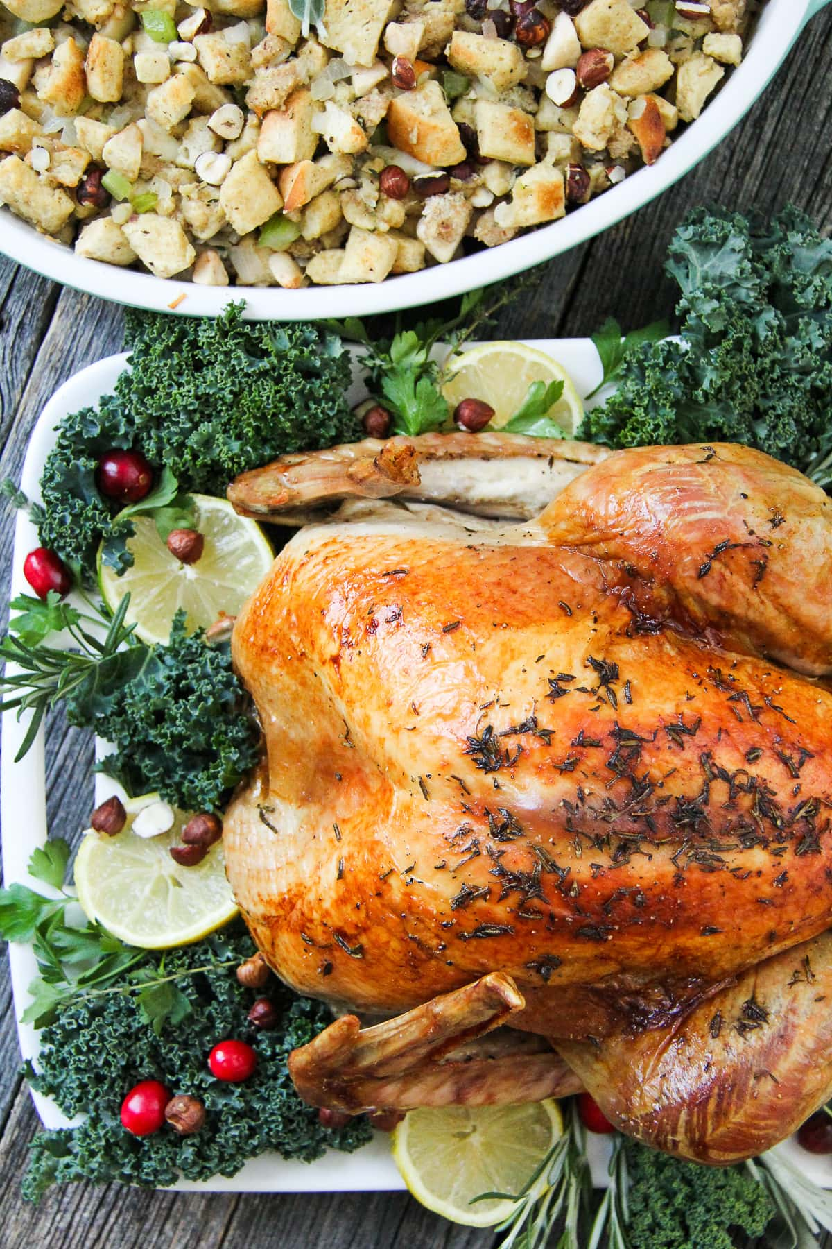 Lemon Rosemary Roasted Turkey with Savoury Hazelnut Stuffing