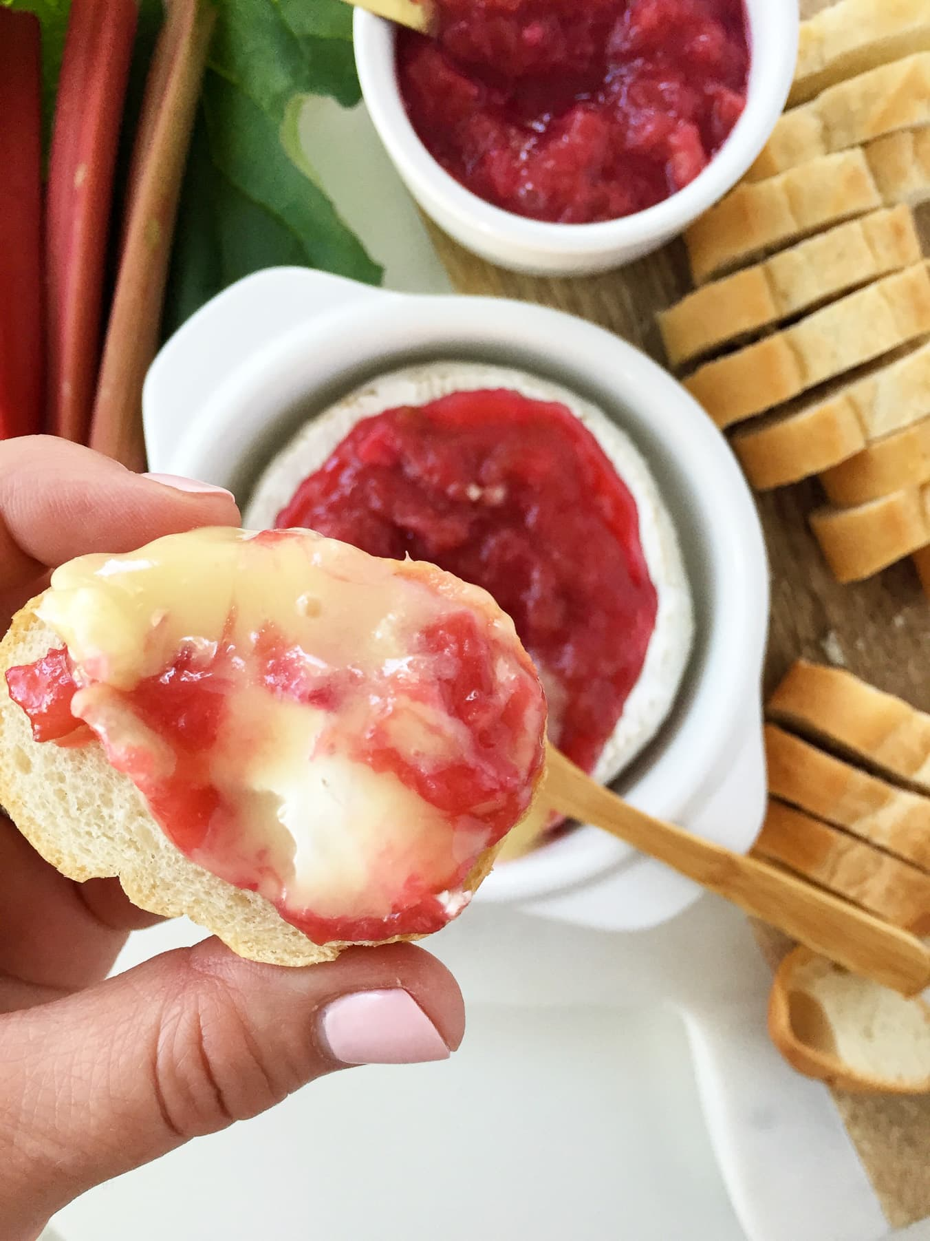 Baked Canadian Camembert with Rhubarb Compote