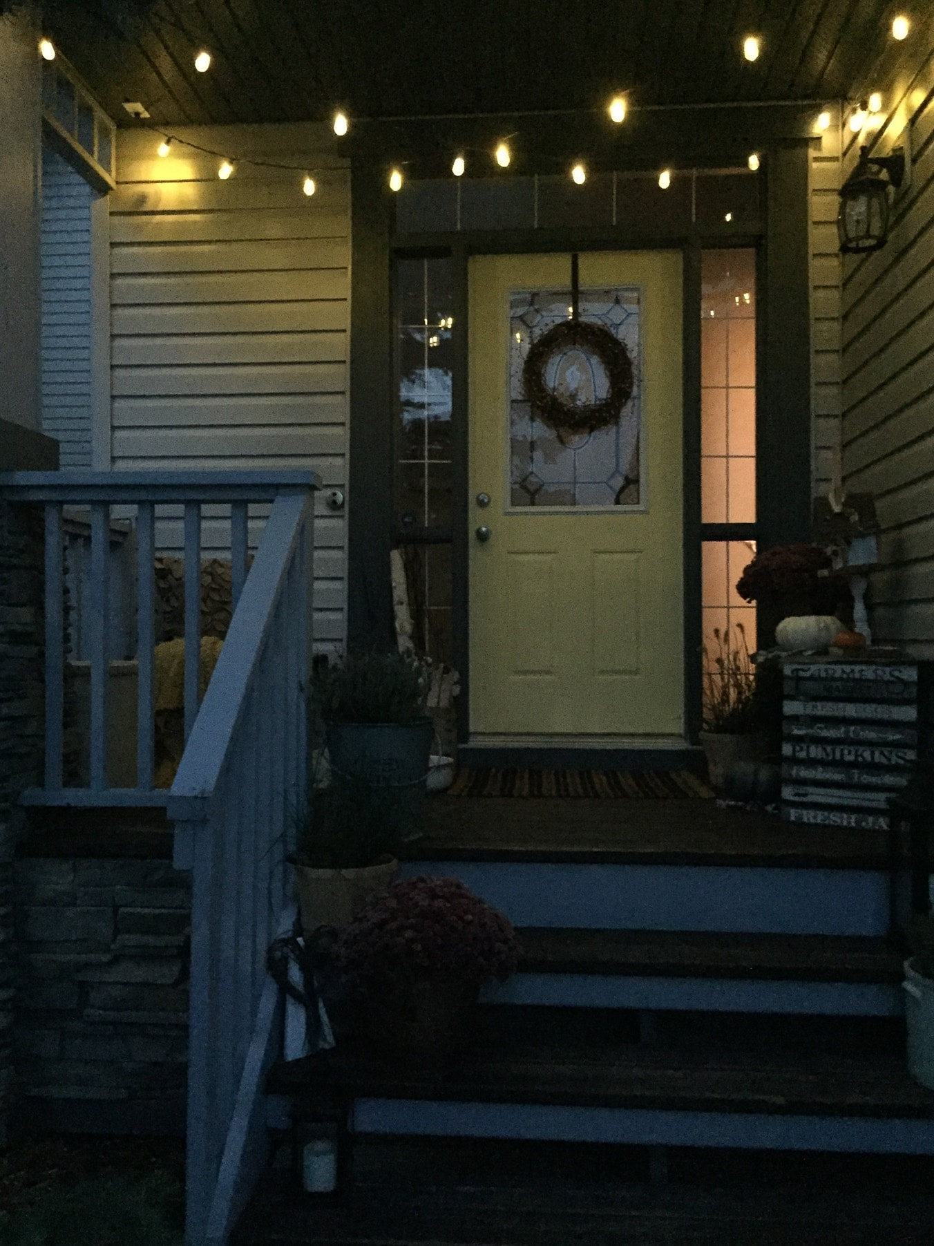 My Harvest Themed Fall Front Porch at Night