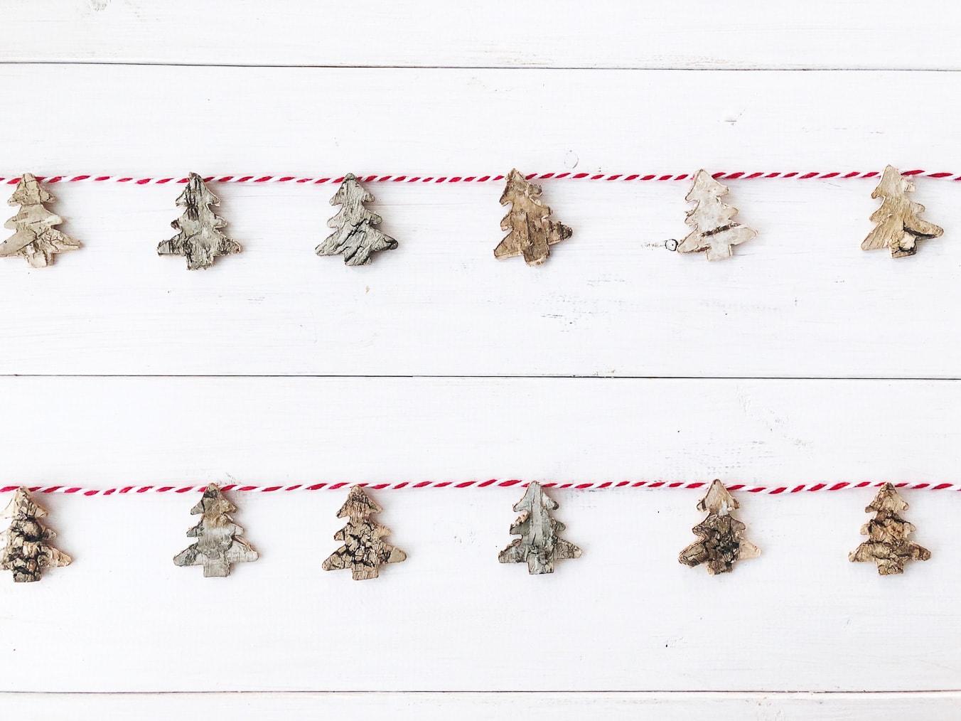 Easy Birch Bark Christmas Tree Garland