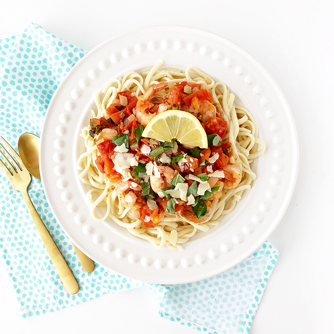 Homemade Fettuccine Noodles with Creamy Tomato Basil Sauce