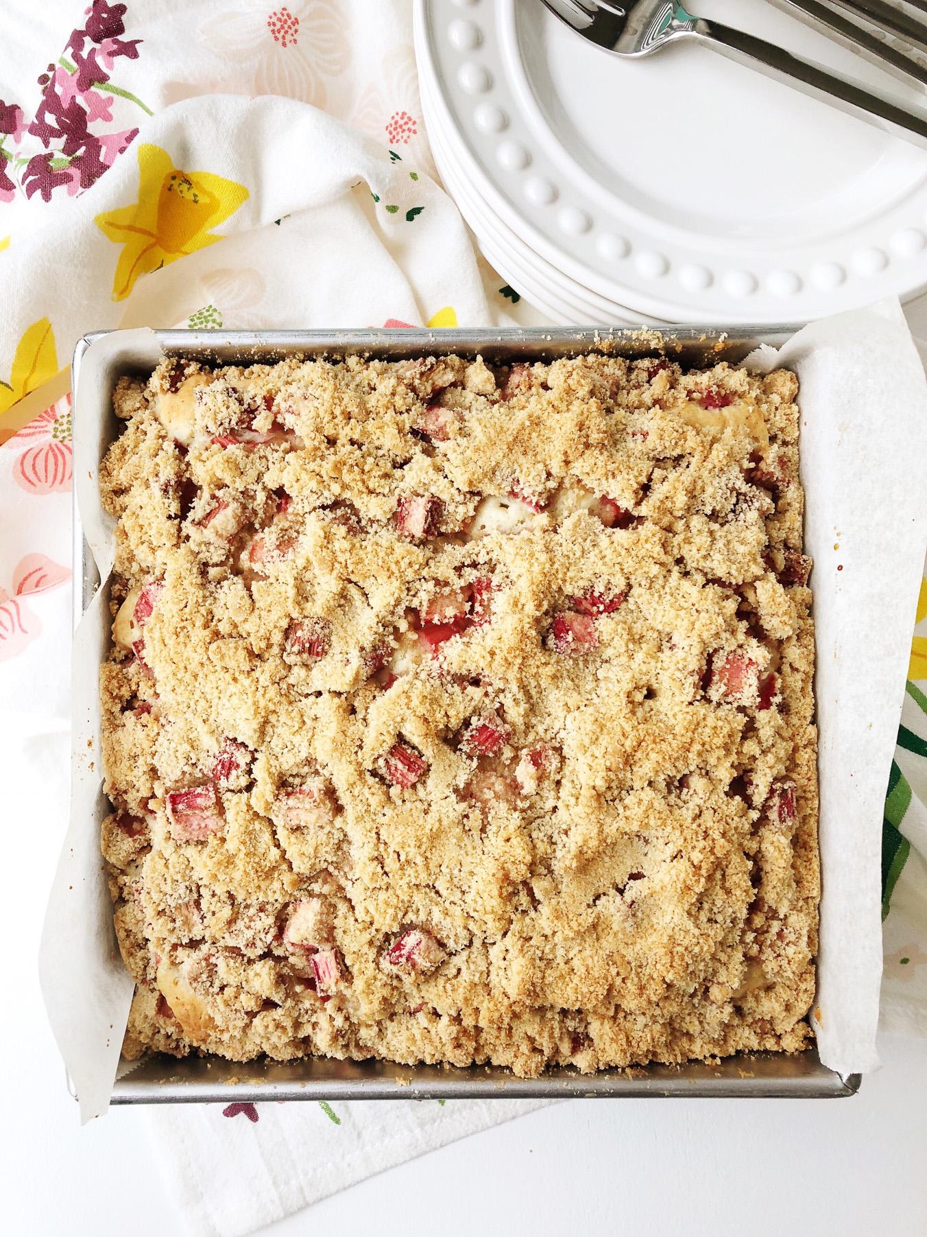 Rhubarb Sour Cream Snack Cake