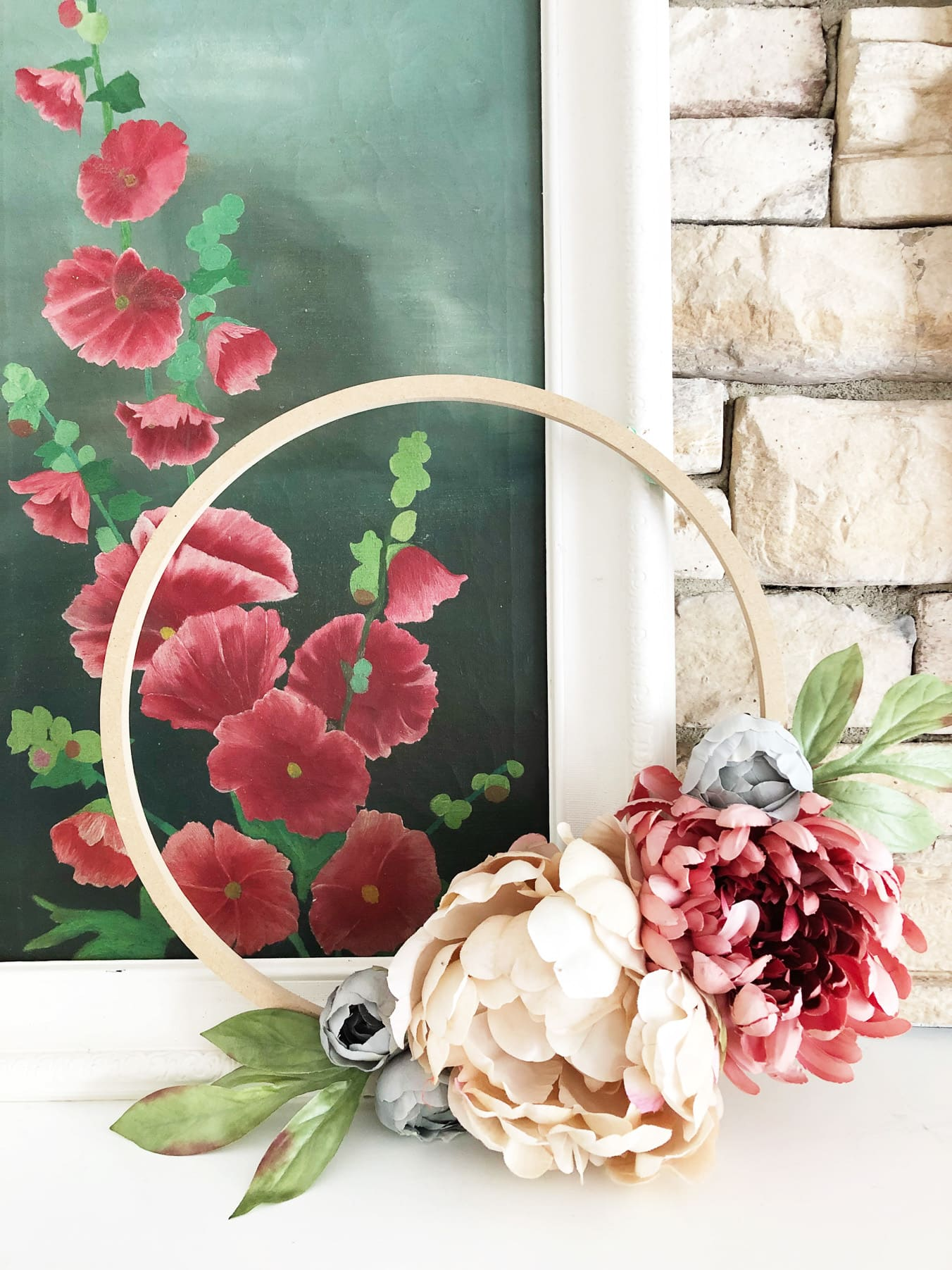 Cozy Fall Home Tour: DIY Floral Hoop Wreath
