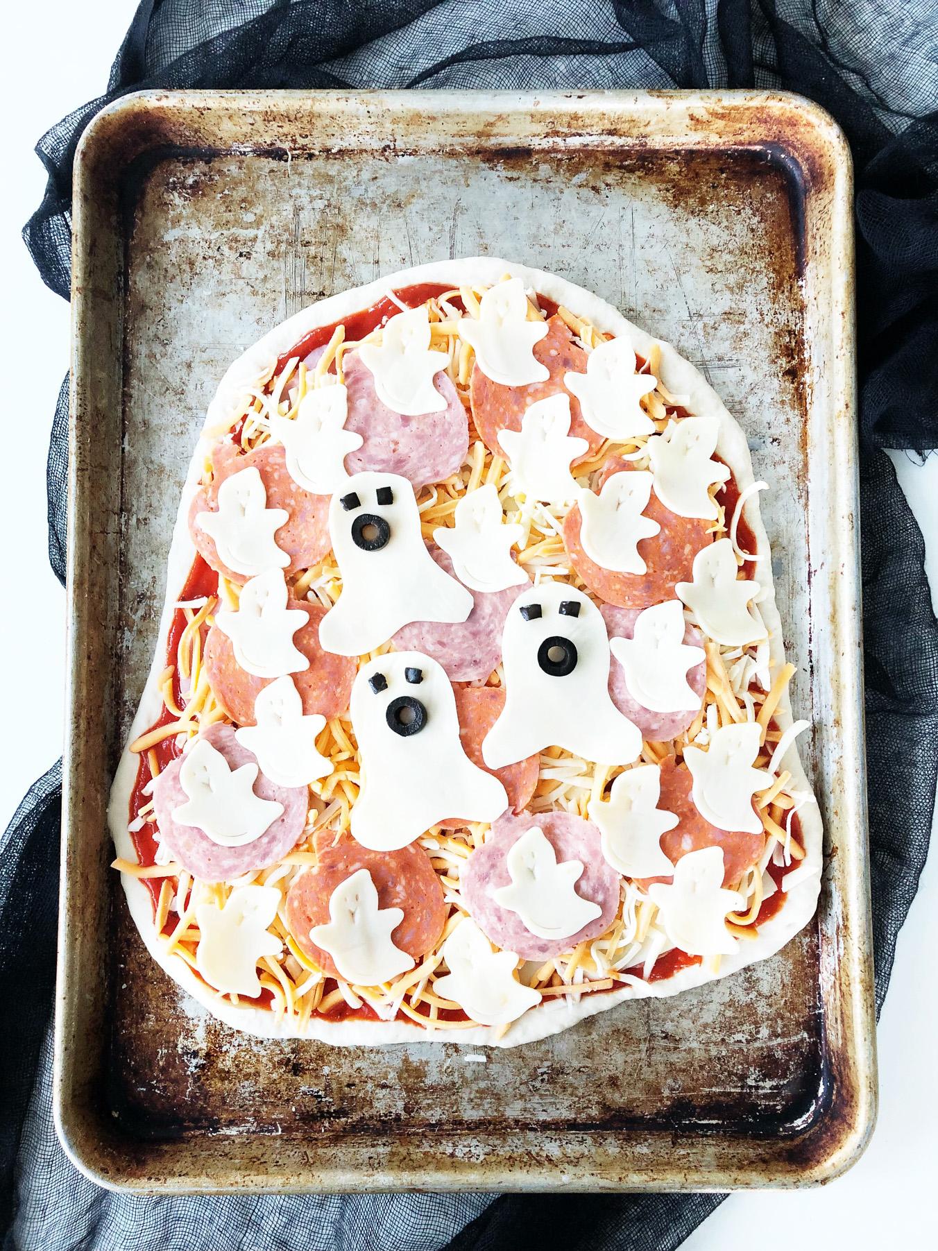 Halloween Ghost Blob Pizza