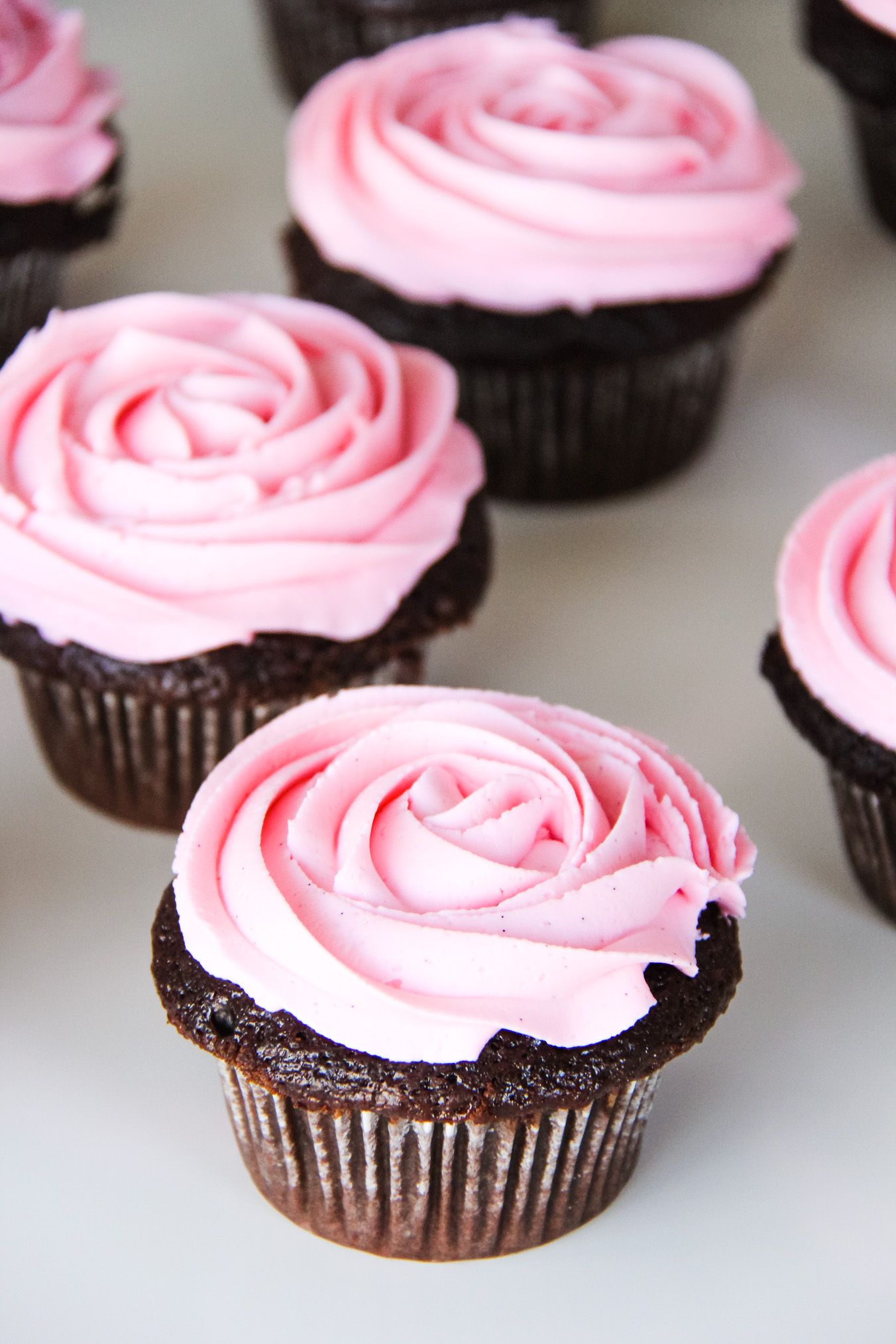 Chocolate Cupcakes with Pink Marshmallow Buttercream