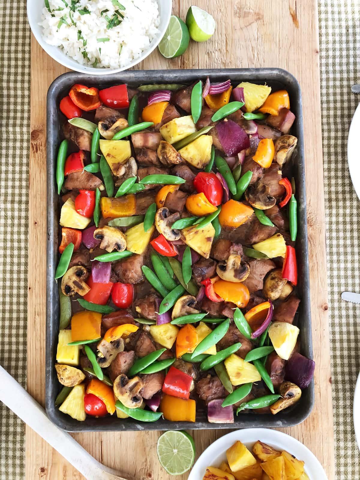 Hawaiian Chicken Sheet Pan Supper