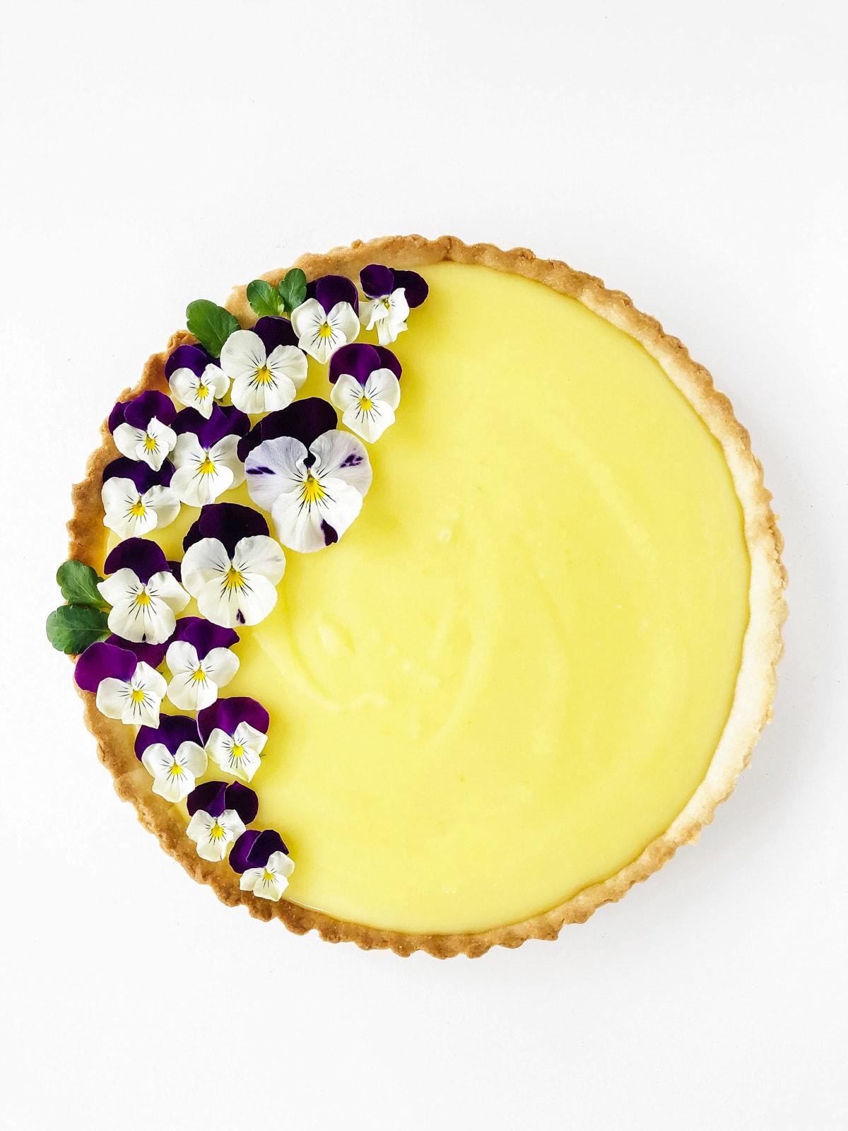 Lemon Tart garnished with Pansies
