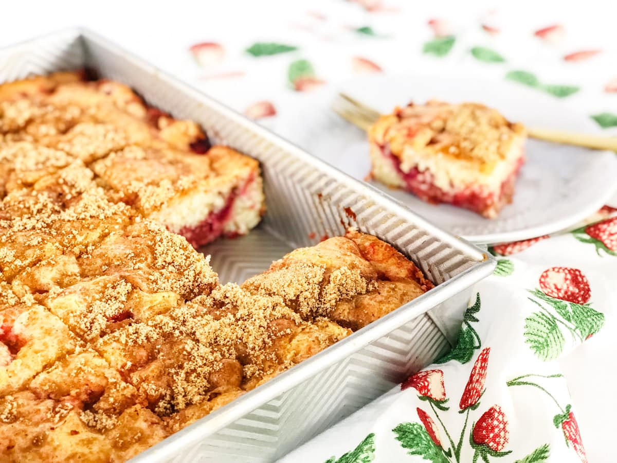 Easy Strawberry Rhubarb Cake (with Strawberry Jello)
