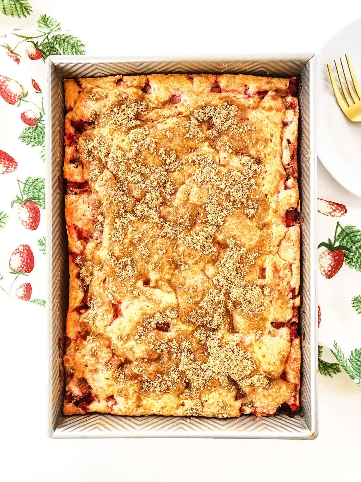 Easy Strawberry Rhubarb Cake (with Strawberry Jello)